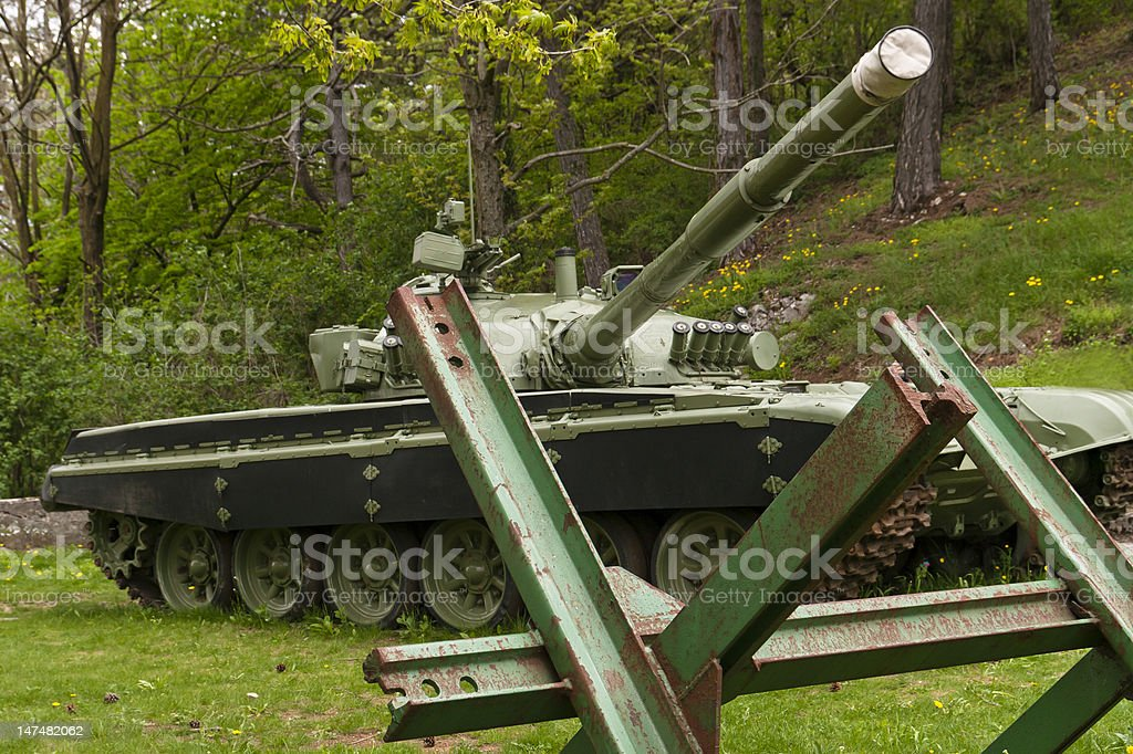 Tank with  bariers royalty-free stock photo