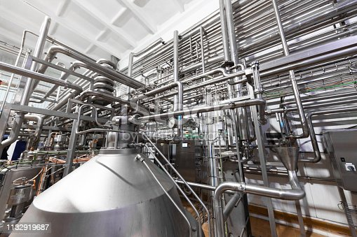 Tanks for mixing liquids. Food industry. Tank equipment. Pharmaceutical and chemical industry. Manufacture on plant. Modern Beer Factory. steel tanks for beer fermentation and maturation