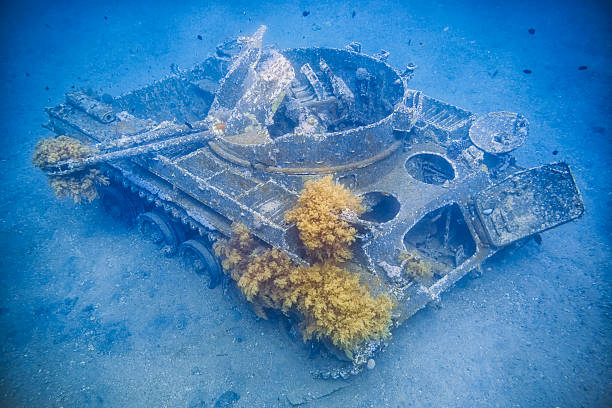 tank wreck in the gulf of aqaba - tala bay - artificial reef stock pictures, royalty-free photos & images