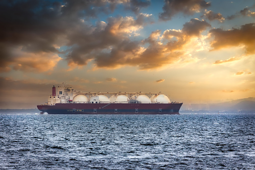 A Liquid Natural Gas tanker (LNG) in Japan