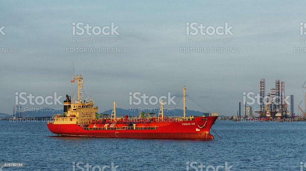LPG tanker anchored in front of harbor stock photo