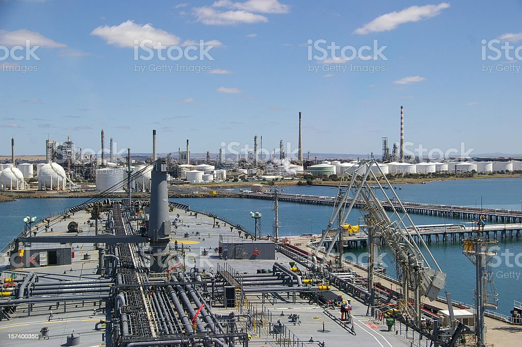 Tanker and refinery royalty-free stock photo