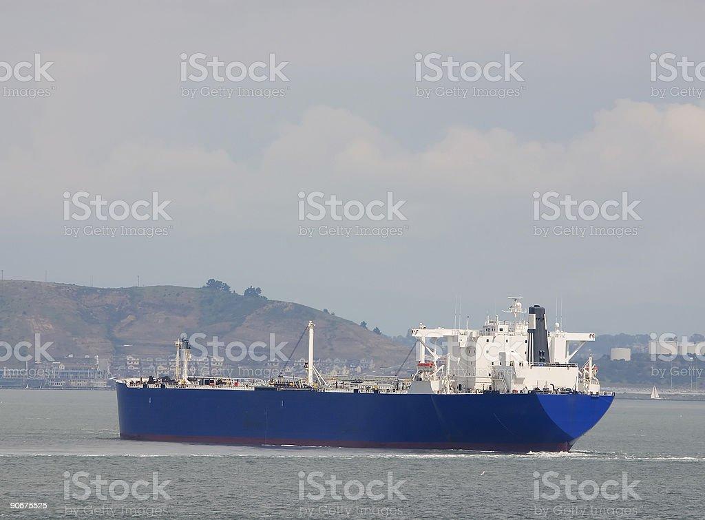 Tanker Approaching Land stock photo