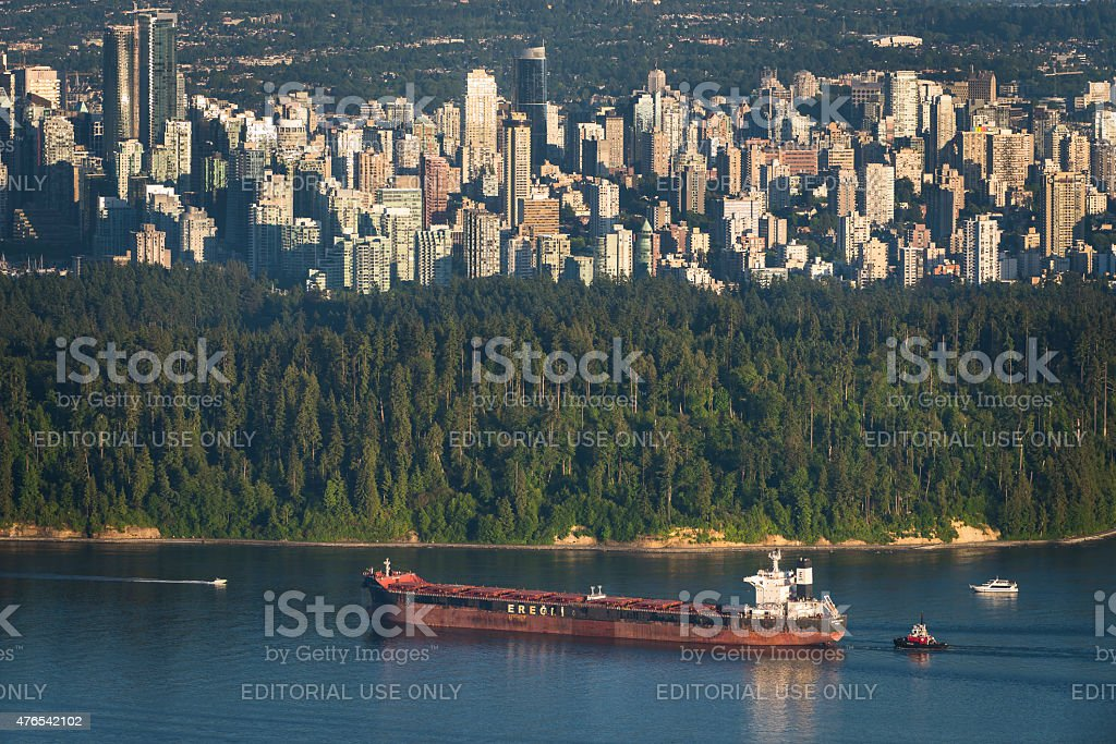Tanker By Vancouver's Stanley Park stock photo