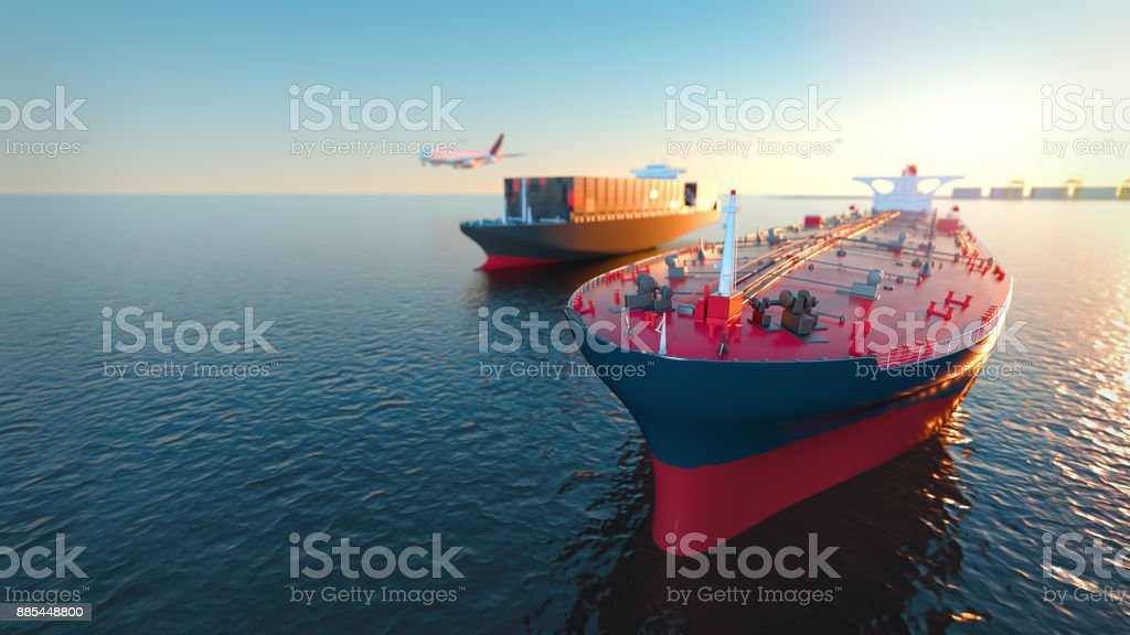 Tanker Cargo and aircraft at sea. stock photo
