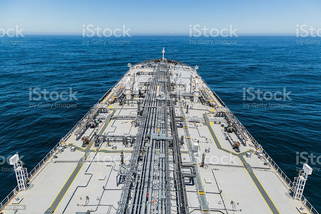 Tanker deck view from mast stock photo
