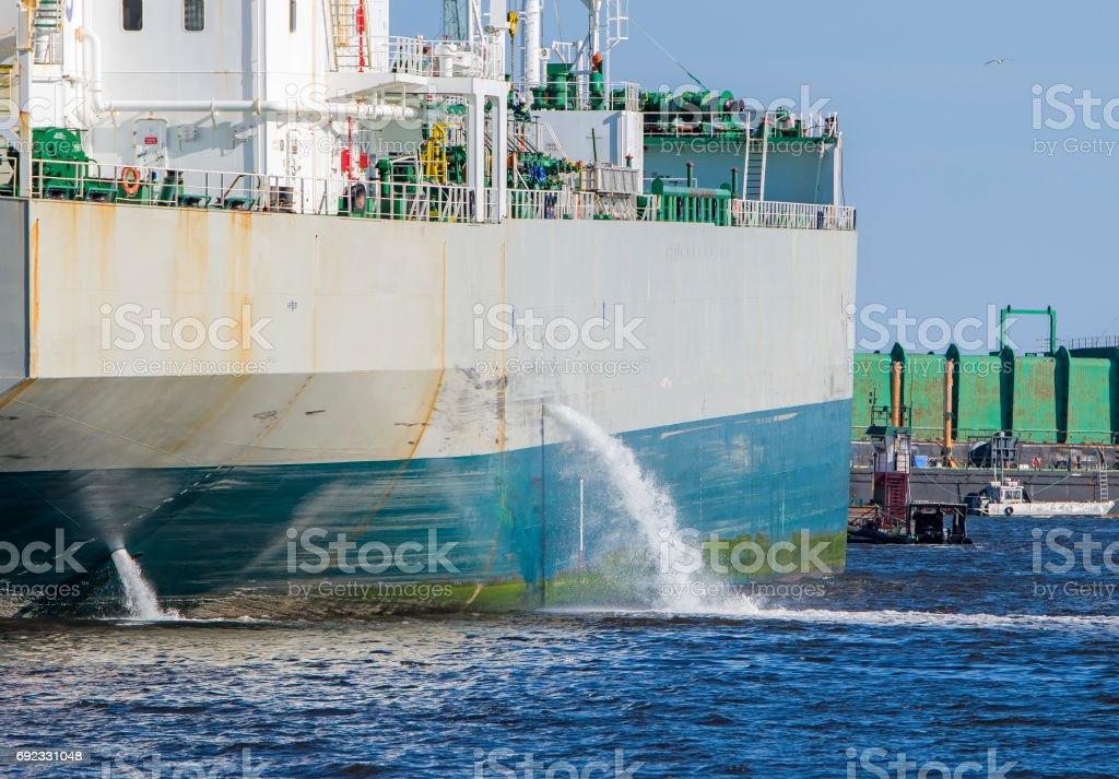 Tanker Discharging Ballast stock photo