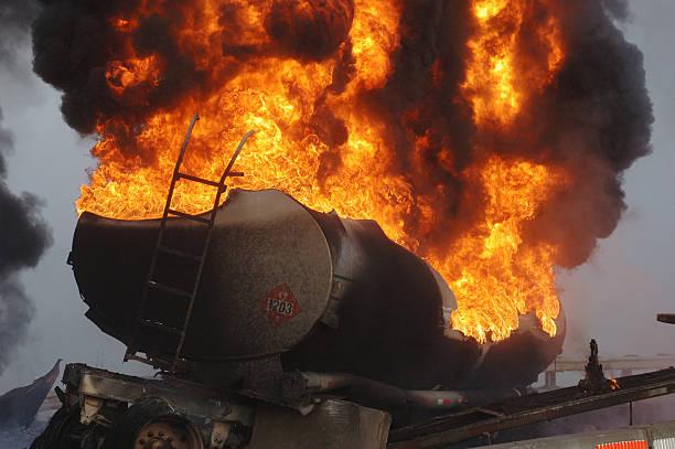 tanker fire stock photo