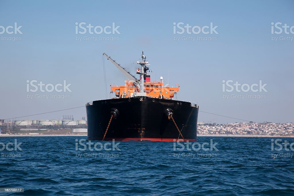 Tanker Full of Oil on Coast of California royalty-free stock photo