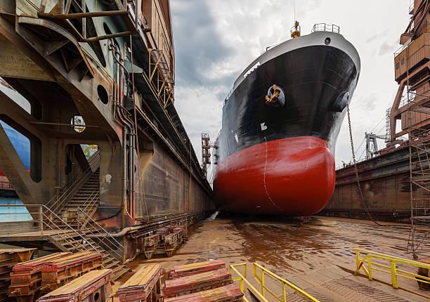 Tanker in dry dock stock photo