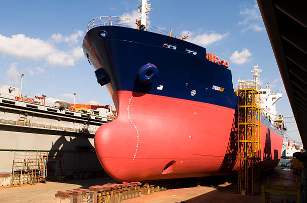 Tanker in shipyard stock photo