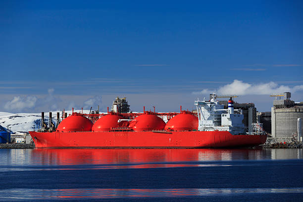 LNG tanker in the arctic. stock photo
