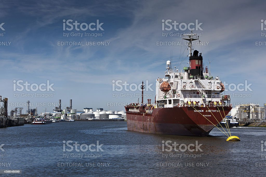 Tanker in the Port of Rotterdam royalty-free stock photo
