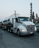 Dartmouth, Canada - August 31, 2015: An Irving semi tanker truck departs from the Imperial Oil Terminal in the aftermath of a gasoline shortage across Nova Scotia due to the late arrival of delivery ships.
