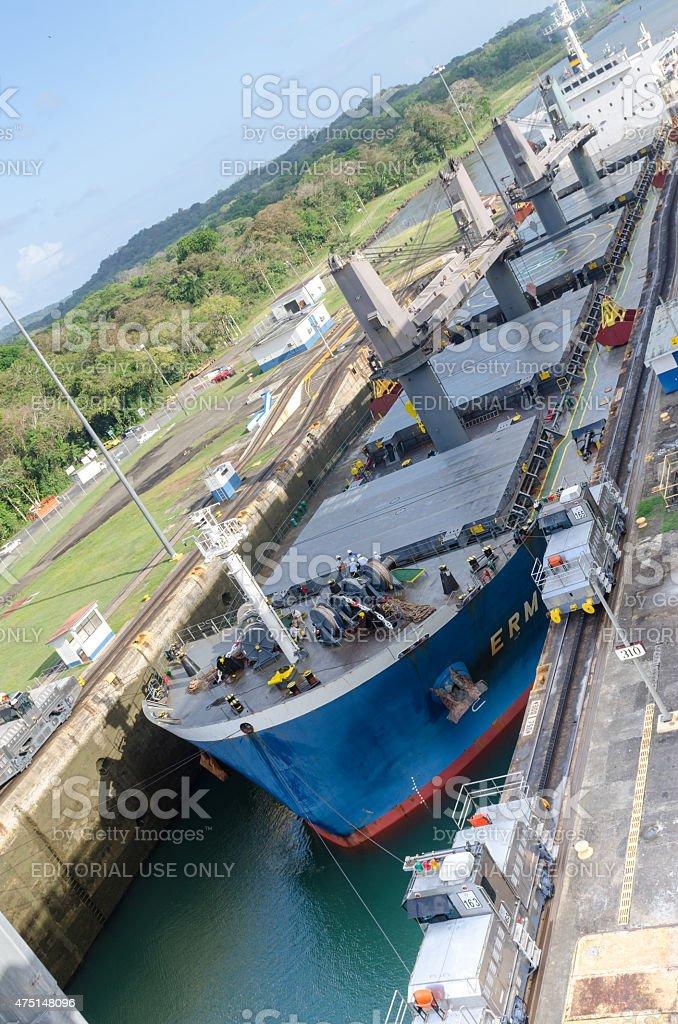 Tanker leaving Gatun Locks, Panama Canal stock photo