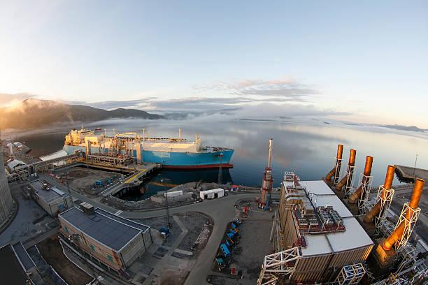 LNG tanker loading. stock photo