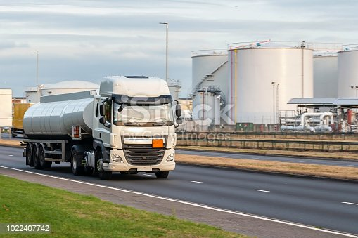 istock Tanker lorry in motion on the road 1022407742