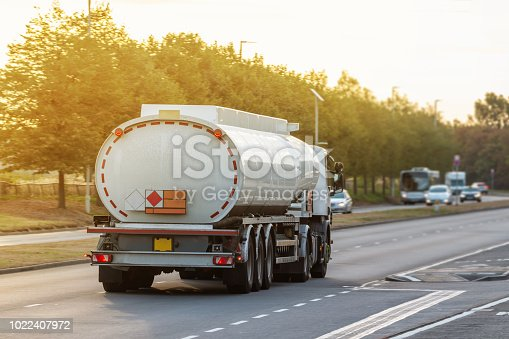 istock Tanker lorry in motion on the road 1022407972