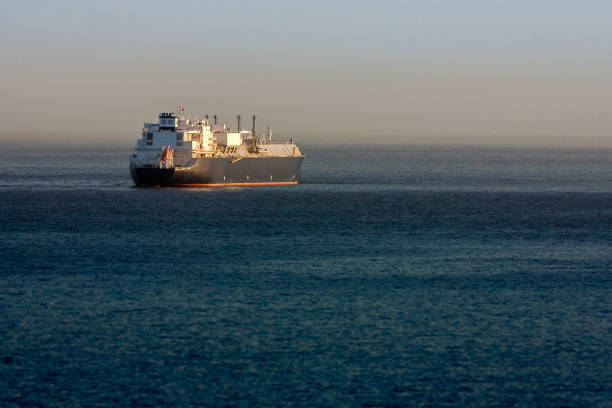 LNG tanker moored stock photo