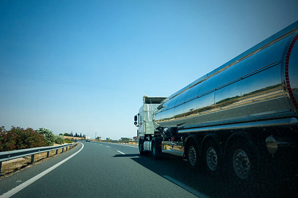 Tanker on the road. stock photo