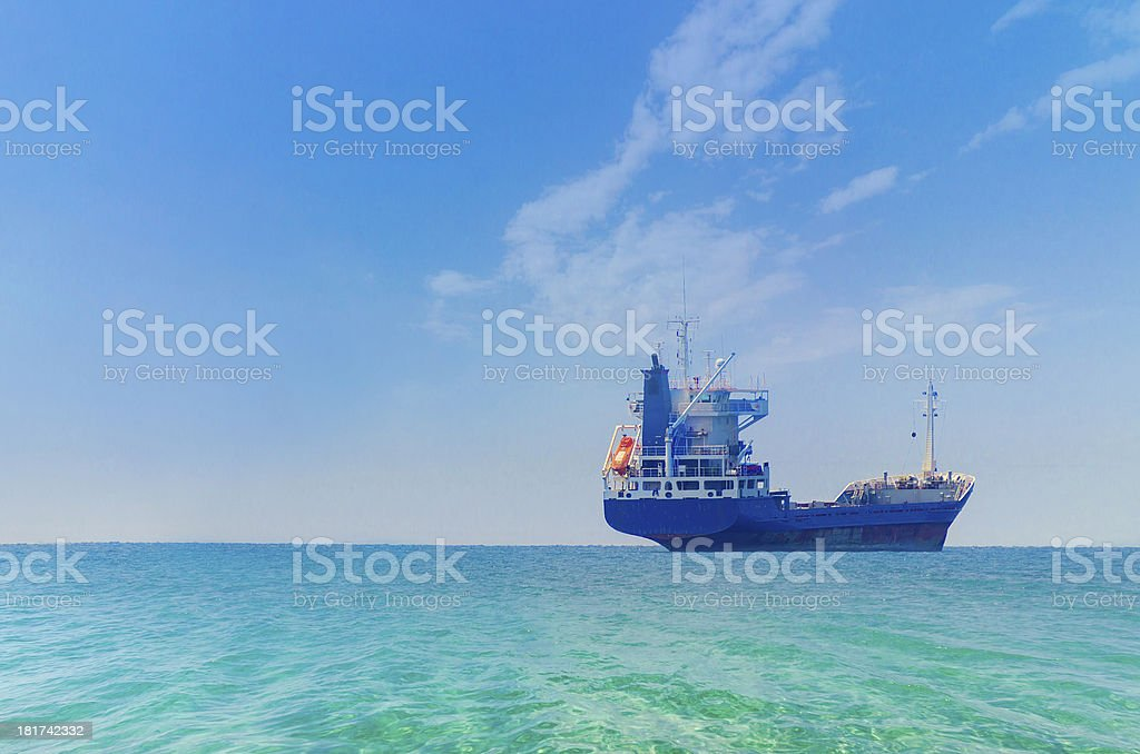 Tanker ship at sunrise. stock photo