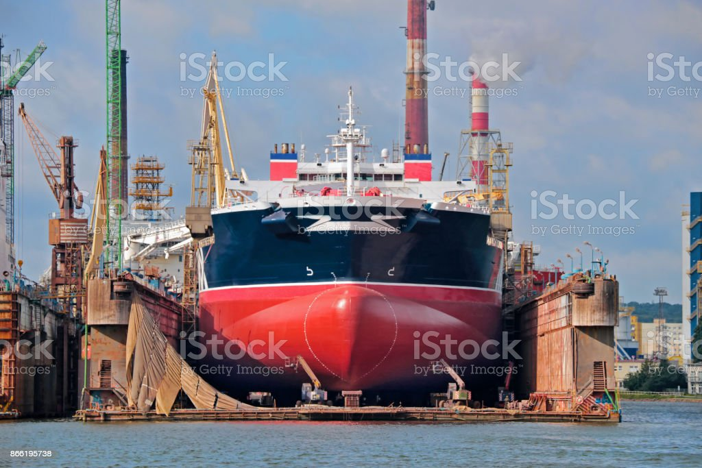 Tanker ship in floating dry dock stock photo