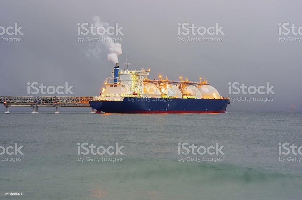 Tanker ship night stock photo