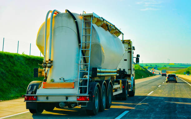 Tanker storage truck at highway in Czech republic stock photo
