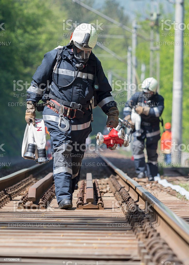 Tanker train crash firefighters stock photo