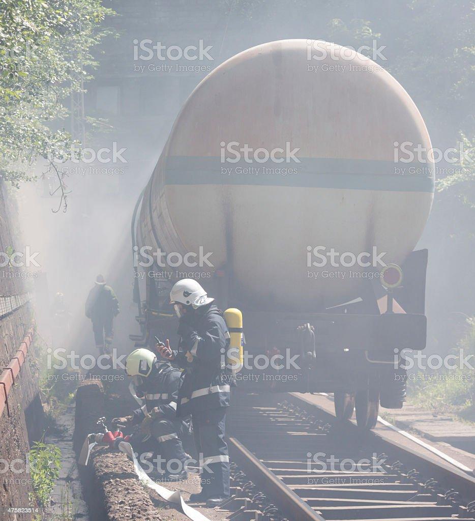 Tanker train smoke firefighters stock photo