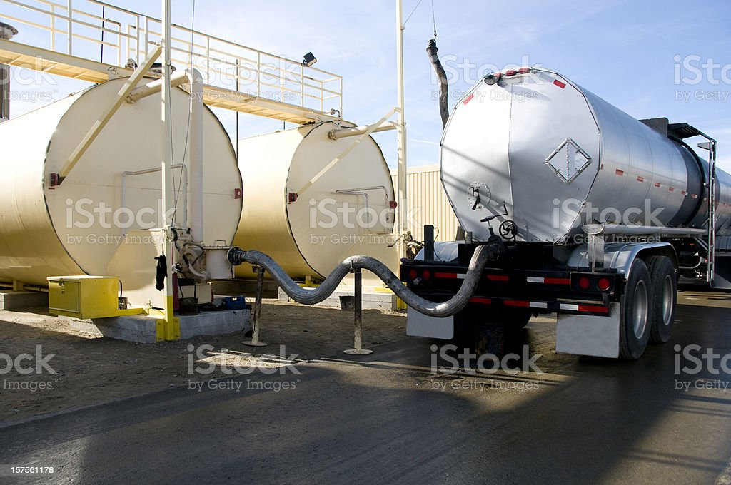 Tanker Transeferring Oil into Fuel Tanks stock photo