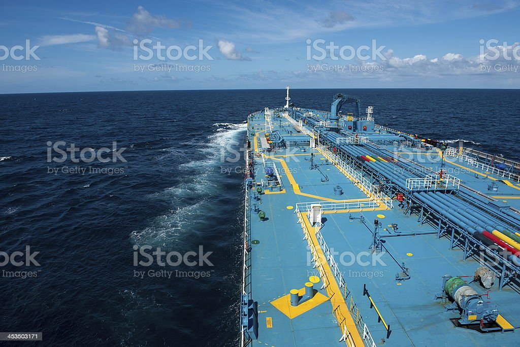 Tanker traveling on the open ocean stock photo