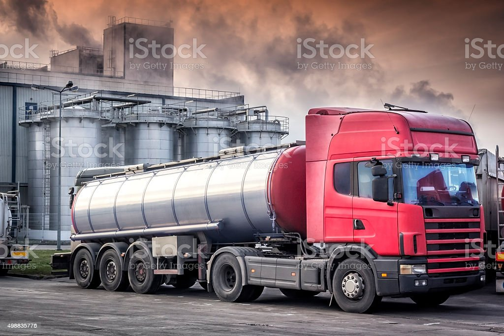Tanker Truck and chemical plant stock photo