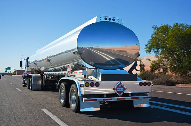 tanker truck on a highway stock photo