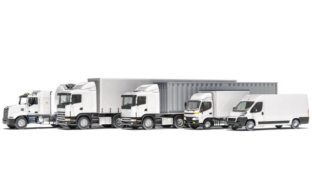 Tanker with Semi Trailer Trucks and a Delivery Van on White Background 3D Rendering commercial land vehicle stock pictures, royalty-free photos & images