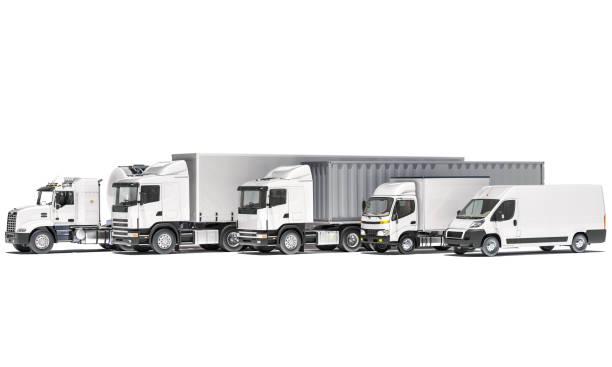 tanker mit semi-sattelzüge und ein lieferwagen auf weißem hintergrund - nutzfahrzeug stock-fotos und bilder