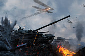 istock Tanks and planes rush into battle on besieged burning land 1171956238