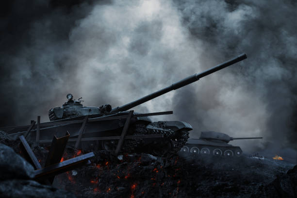 Tanks and planes rush into battle on besieged burning land Tanks and planes rush into battle on besieged burning land. Tank operation military attack stock pictures, royalty-free photos & images