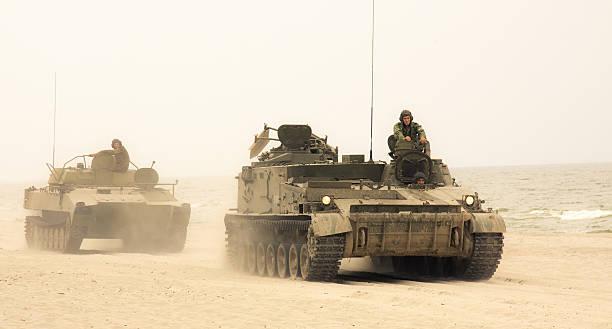 Tanks convoy stock photo