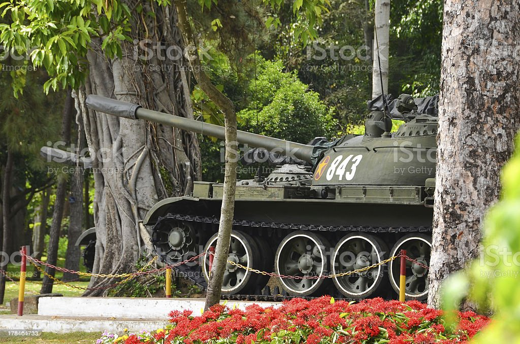 Tanks in front of Reunification Palace stock photo