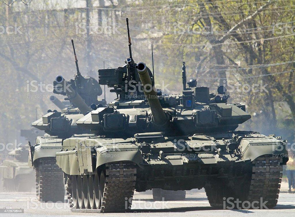 Tanks in the city stock photo