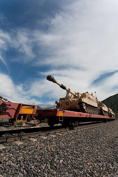 Tanks on the Train stock photo