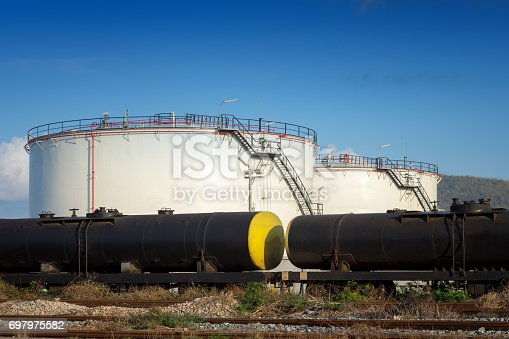 Tanks with oil being transported by rail