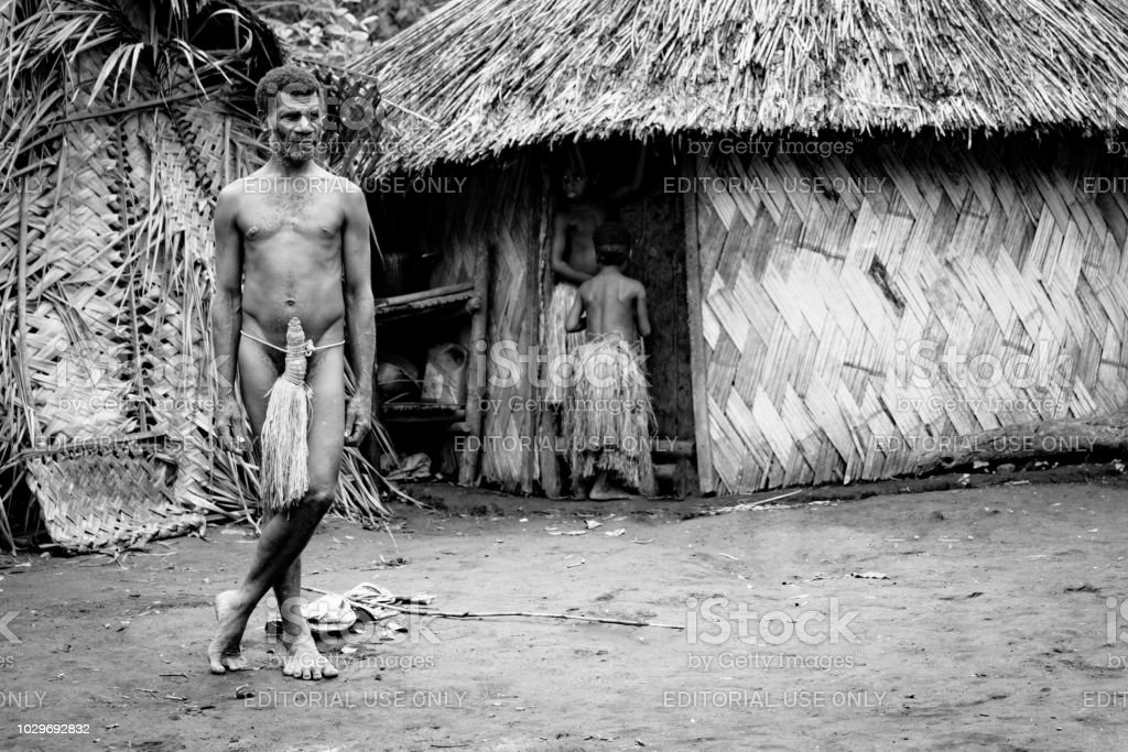 Tanna Island Indigenous Man Kastom Village Vanuatu BW stock photo