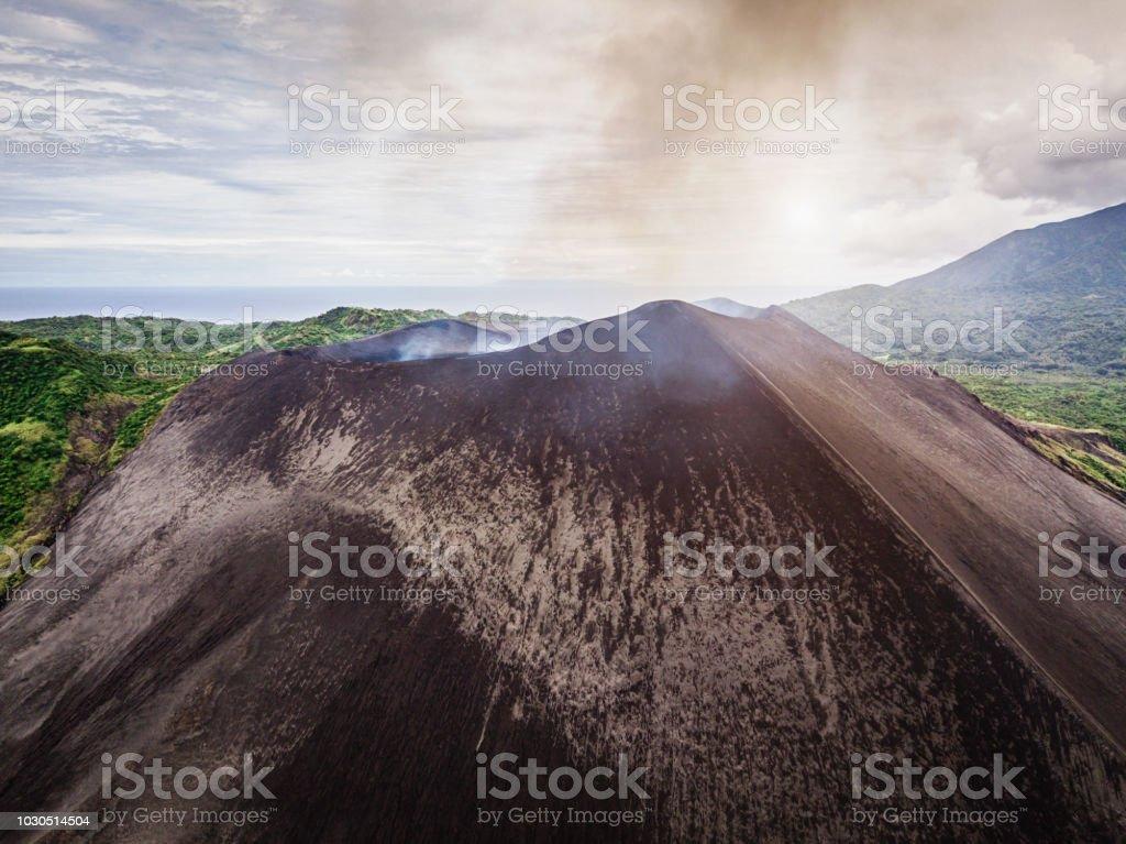Tanna Island Vanuatu Mount Yasur Volcano Aerial View stock photo
