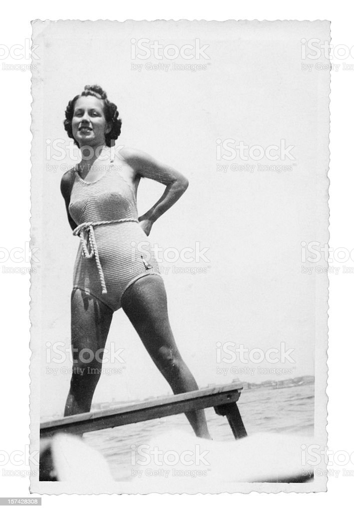 Tanned Girl with Swimwear in 1935.Black And White royalty-free stock photo