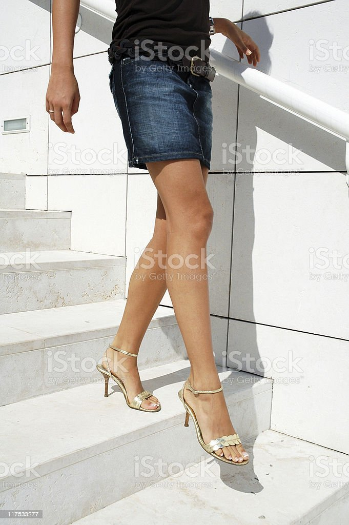 tanned legs stock photo