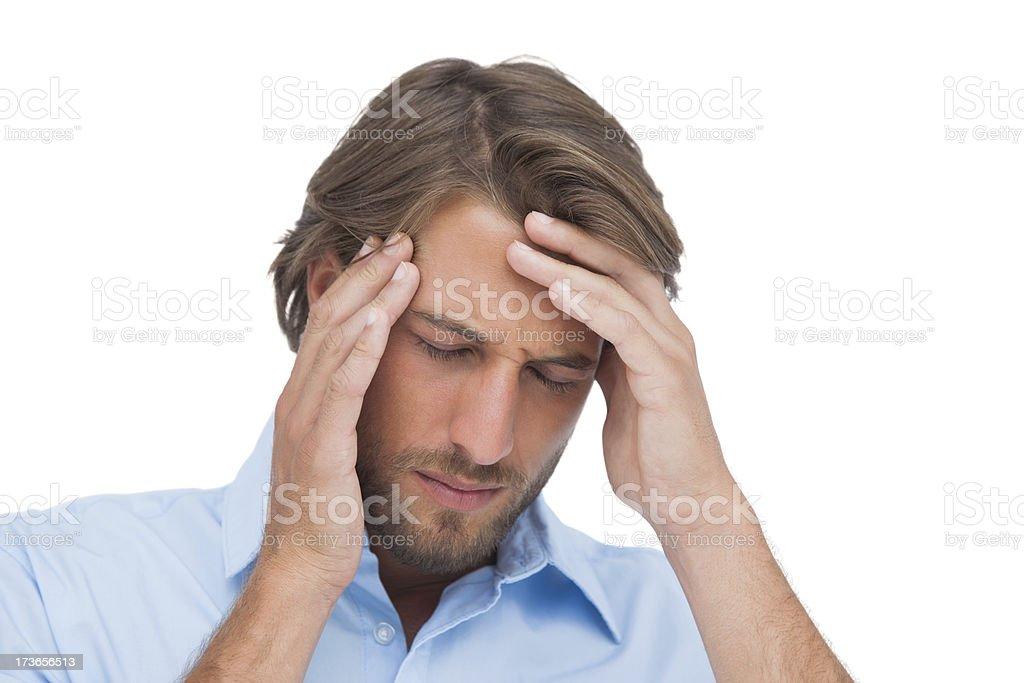Tanned man having a headache royalty-free stock photo