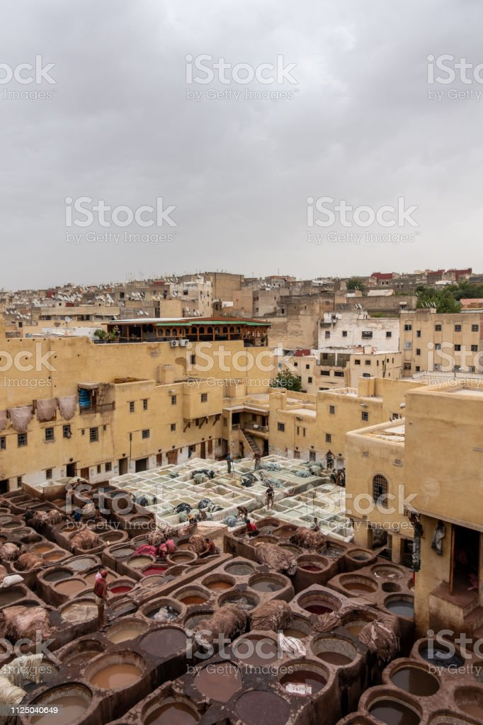 A tannery in Fes from above, Morocco stock photo