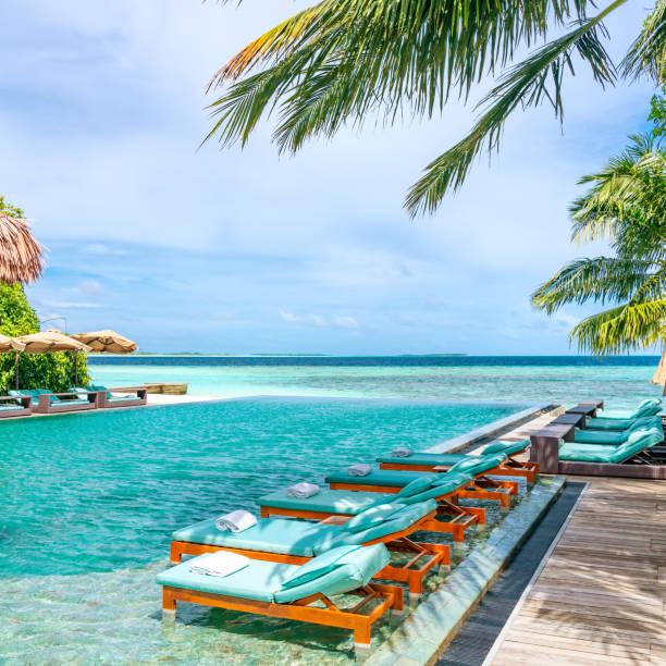 solarium obok basenu w tropical resort na malediwach - kurort turystyczny zdjęcia i obrazy z banku zdjęć